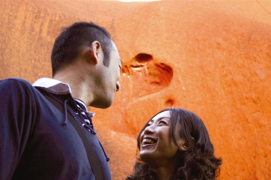 Taka and his wife, Uluru sunrise, Mutitjulu walk