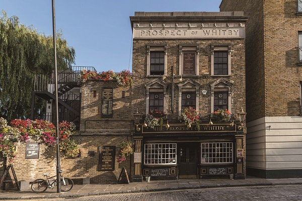 The Prospect of Whitby is a historic Thames riverside pub in Shadwell, the Docklands region of London