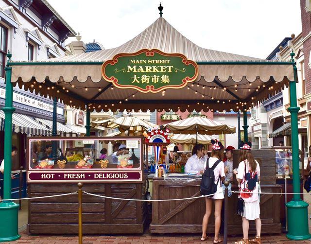 香港ディズニーランド ミッキーワッフルを販売しているワゴン